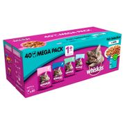 Whiskas 1+ Fish Selection in Jelly Cat Food 40 Pouches X 100g £7 Only!!!