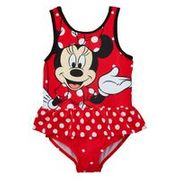 Minnie Mouse Girls Frill Swimming Costume - Red
