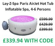 OFFER STACK! Lay-Z-Spa Paris AirJet Hot Tub Inflatable Spa, 4-6 Persons