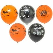 12 Orange Black Printed Halloween Balloons Party