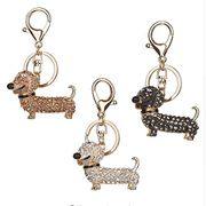 TXIN 3 Pieces Dachshund Crystal Dog Keychain FREE DELIVERY