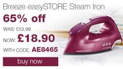 65% off the Breeze easySTORE Steam Iron. Now Only £18.90!