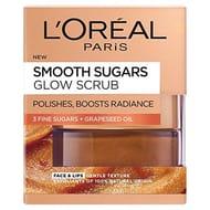 L'Oreal Paris Smooth Sugar Glow Grapeseed Face and Lip Scrub, 50 Ml