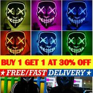 Two LED Light up Masks Halloween (Random Colour £3.99 Each or 2 for £6.78