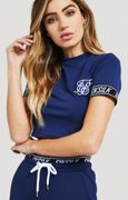 SikSilk Fitted Elastic Sleeve Crop Tee Dark Blue