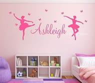 Ballerina & Butterflies Kids Personalised Any Name Wall Art Mural Ballet Sticker