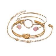 4Pcs/Set Women Beautiful Arrow Crystal Opening Bangle Bracelet