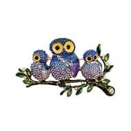 Owl Rhinestone Pin Brooch