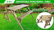 Bennett 2-in-1 Convertible Wooden Picnic Table & Bench