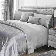 Glitter Duvet Cover & Pillow Case Sparkle Glitz Velvet Set - Grey Silver, King