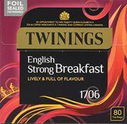 Twinings 1706 Strong Breakfast 80's (Pack of 4, Total 320 Tea Bags)