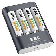 Super Fast Battery Charger with 4 X 2300mAh Ni-MH Rechargeable AA Batteries