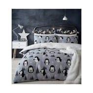 Catherine Lansfield Cosy Penguin Fleece Christmas Duvet Cover Set
