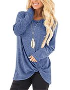 Women Casual Long Sleeve Solid T-Shirt Autumn O-Neck Loose Twisted Tops T-Shirts