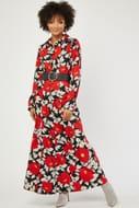 Large Flower Print Maxi Shirt Dress