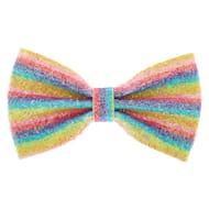 Iridescent Glitter Rainbow Stripe Hair Bow Clip