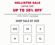 Up to 30% off at Hollister