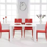 Atlanta 120cm White High Gloss Dining Table with 4 Atlanta Chairs 4 Colours