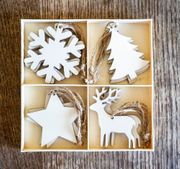 Festive Natural Wooden Hanging Decorations
