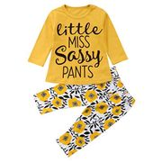 Toddler Baby Girls Cute Letter Print Long Sleeve Shirt Floral Pants