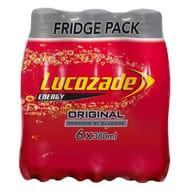 Lucozade Original / Orange/ Apple / Pink Lemo 6 X 380Ml (Instore and Online)