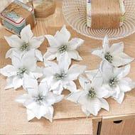 8 PCS Glitter Artificial Flowers for Christmas Festival Decor (Silver)
