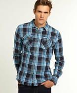Mens Superdry Lumberjack Shirt Texana Sky Check Blue (Large)