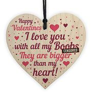Best Price RED OCEAN Hilarious FUNNY Valentines Gift for Him Wood Heart