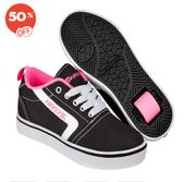 Heelys - Size 2 - GR8 Pro Black, White and Pink