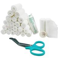 Conforming Bandage,24 Pack with Medical Tape + Premium Scissors, 10cm X 4.5m