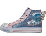SKECHERS Girls Twinkle Toes Shuffles Footing Flutters Denim High Tops size 9.5-2