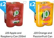 J20 Apple and Raspberry and Orange and Passionfruit *250ml 4 Pack