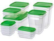 Food Container, Set of 17, Transparent, Green Only £4