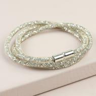 Crystal Mesh Wrap Bracelet in Gold