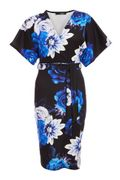 Quiz Black and Royal Blue Floral Wrap Batwing Midi Dress