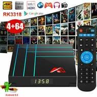 A10 Smart Android 9.0 TV Box RK3318 Quad Core 64 Bit 4GB 32GB/64GB UHD 4K Media