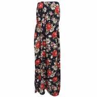 Best Price LADIES FLORAL PRINT STRAPLESS MAXI DRESS