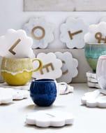 Scalloped Marble & Brass Alphabet Coaster