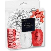 9 Piece Christmas Red & White Accessory Bow Pack.