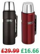 Thermos Stainless King Flask, 1.2 L (Matt Black or Red)