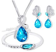 Set of Crystal Pendant Necklace+Earrings+Bracelet (Blue) + £1.10 Delivery