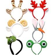 LONEEDY 6 Pack Plush Zoo Animal Headbands, Cute Jungle Safari Party Hair Band