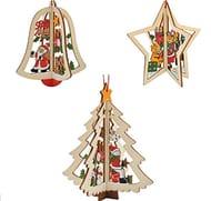3x Christmas Tree Decoration Vintage Ornaments