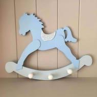 Gisela Graham Blue Wooden Rocking Horse Peg Rail