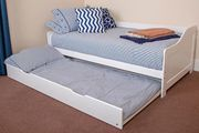 Single White Wooden Day Bed Frame with Pull-out Underbed