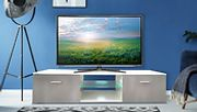 White & Grey High Gloss TV Unit with LEDs and Drawers