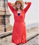 Womens Frill Wrap Dress in Rich Coral