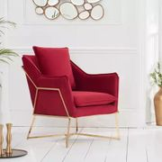 Cheap London Red Velvet Accent Chair with £800 Discount - Great buy!