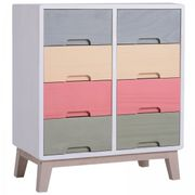 HOMCOM Chest of Drawers, 55Dx30Wx65.5 H Cm, Paulownia Wood-Multicolour
