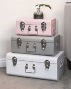 Metal Trunks White, Grey, Pink with Chrome Handle